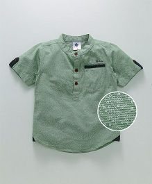 Tonyboy Mini Floral Self Print Mandarin Collar Shirt - Green