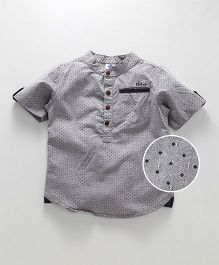 Tonyboy Dot Printed Mandarin Collar Shirt - Grey