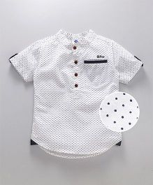 Tonyboy Dot Printed Mandarin Collar Shirt - Off White