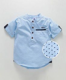 Tonyboy Dot Printed Mandarin Collar Shirt - Sky Blue