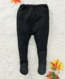 Babyhug Winter Wear Solid Bootie Leggings - Black