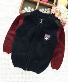 Babyhug Full Sleeves Front Open Sweater - Navy Blue Red