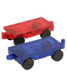 Flying Start Magna Tiles Wheels Set Pack of 2 - Red Blue