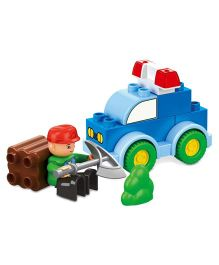 Flying Start Mega Bricks Forest Police Car Set Multi Colour - 12 Pieces