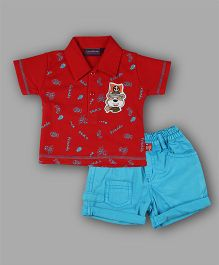 Chocolate Baby Polo Tee & Shorts - Red