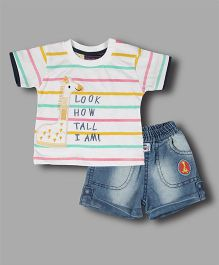 Chocolate Baby Striped Tee & Shorts - White