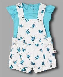 Chocolate Baby Floral Print Romper With Inner Tee - Turq