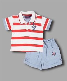 Chocolate Baby Striped Polo Tee & Shorts - Red