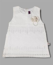 Chocolate Baby Flower Applique Dress - White