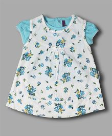 Chocolate Baby Floral Dress With Inner - Turq