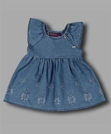 Chocolate Baby Eyelet Design Denim Dress - Light Blue