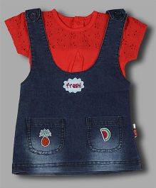 Chocolate Baby Dungaree Dress With Inner - Red