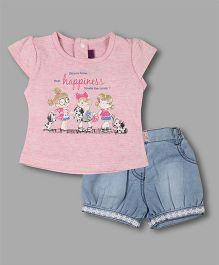 Chocolate Baby Printed Tee & Shorts - Pink