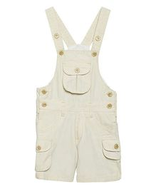 FirstClap Front Pocket Knee Length Dungaree - Off White