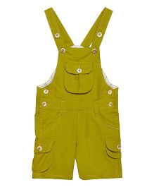 FirstClap Front Pocket Knee Length Dungaree - Olive Green