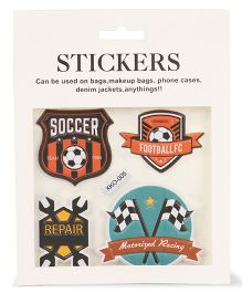 Football Shape Stickers Pack of 4 - Multi Colour