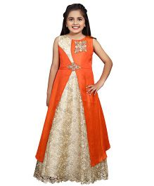Betty By Tiny Kingdom Floral Design & Applique Long Gown - Orange