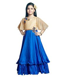 Betty By Tiny Kingdom Frill Gown & Flare Sleeves - Blue