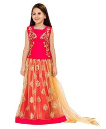 Betty By Tiny Kingdom Netted Floral Design Lehenga & Choli Set - Pink