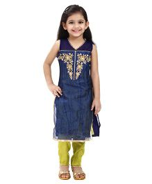 Betty By Tiny Kingdom Floral Kurti & Churidar Set - Blue