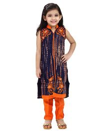 Betty By Tiny Kingdom All Over Design Kurti & Churidar Set - Orange & Blue