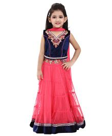 Betty By Tiny Kingdom Neck Design Lehenga & Choli Set - Pink & Blue