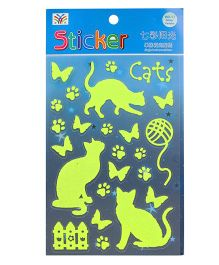 Kitty & Butterfly Theme Glow In The Dark Stickers - Green
