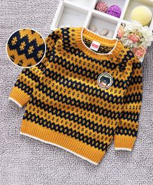 Babyhug Full Sleeves Sweater Self Design - Mustard Yellow