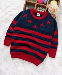 Babyhug Full Sleeves Sweater Stripes & Star Design - Red Navy Blue