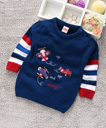 Babyhug Full Sleeves Sweater Aeroplane Patch - Royal Blue