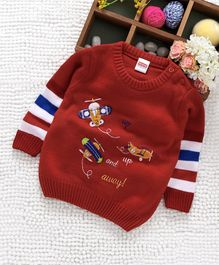 Babyhug Full Sleeves Sweater Aeroplane Patch - Red
