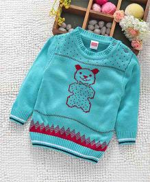 Babyhug Full Sleeves Sweater Bear Design - Aqua Blue