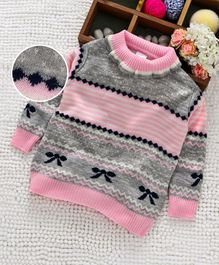 Babyhug Full Sleeves Sweater Self Design - Light Pink Grey