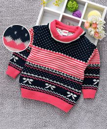Babyhug Full Sleeves Sweater Self Design - Dark Pink Navy Blue