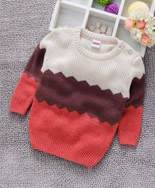 Babyhug Full Sleeves Sweater - Pink Purple White