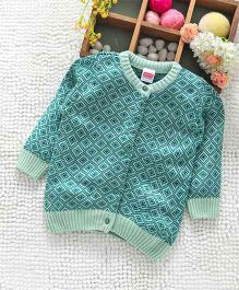 Babyhug Full Sleeves Front Open Sweater - Mint Blue