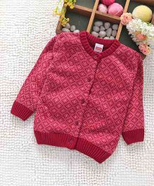 Babyhug Full Sleeves Front Open Sweater - Dark Pink
