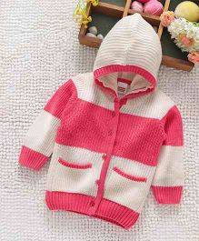 Babyhug Full Sleeves Front Open Hooded Sweater - White Pink