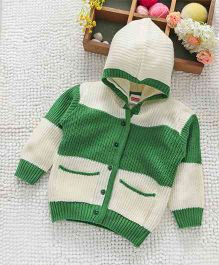 Babyhug Full Sleeves Front Open Hooded Sweater - White Green