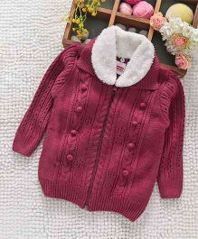 Babyhug Full Sleeves Sweater With Faux Fur Collar - Magenta