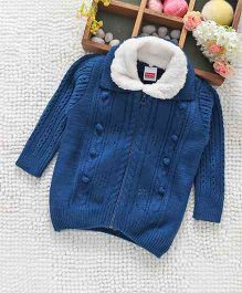 Babyhug Full Sleeves Sweater With Faux Fur Collar - Royal Blue