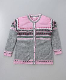 Babyhug Full Sleeves Front Open Sweater Abstract Design - Pink