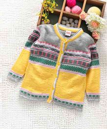 Babyhug Full Sleeves Front Open Sweater Abstract Design - Yellow