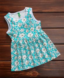 UCB Sleeveless Frock Floral Print - Blue White