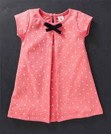 Baby Naturelle & Me Short Sleeves Frock Polka Dots Print - Peach