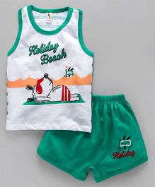 Cucumber Sleeveless T-Shirt And Shorts Holiday Beach Print - White Green