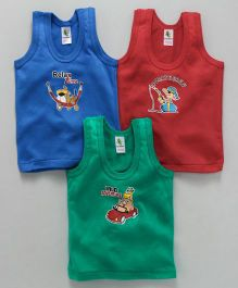 Cucumber Sleeveless Vests Multi Print Pack of 3 - Red Green Royal Blue