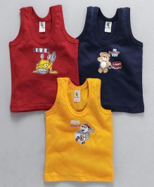Cucumber Sleeveless Vests Multi Print Pack of 3 - Red Blue & Yellow