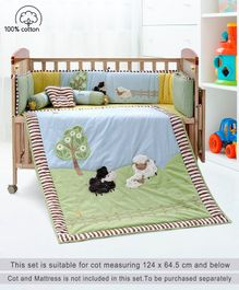 Babyhug Crib Bedding Set Farm Theme Small Pack of 6 - Light Green