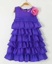 Soul Fairy Ruffles Tiered Dress With Rose - Lavender